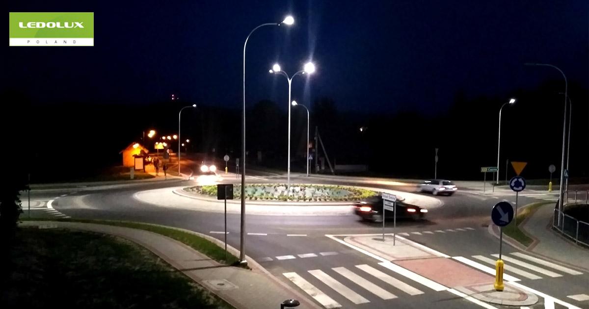 Oświetlenie ronda w Polańczyku