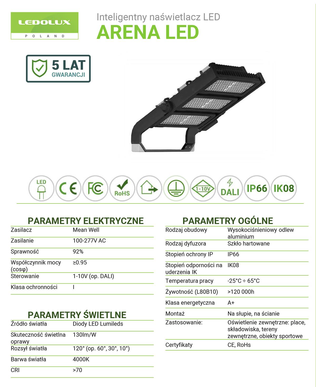 Informacje dotyczące naświetlacza Arena LED